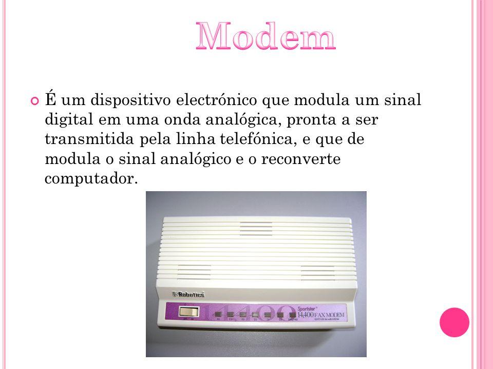 É um dispositivo electrónico que modula um sinal digital em uma onda analógica, pronta a ser transmitida pela linha telefónica, e que de modula o sina