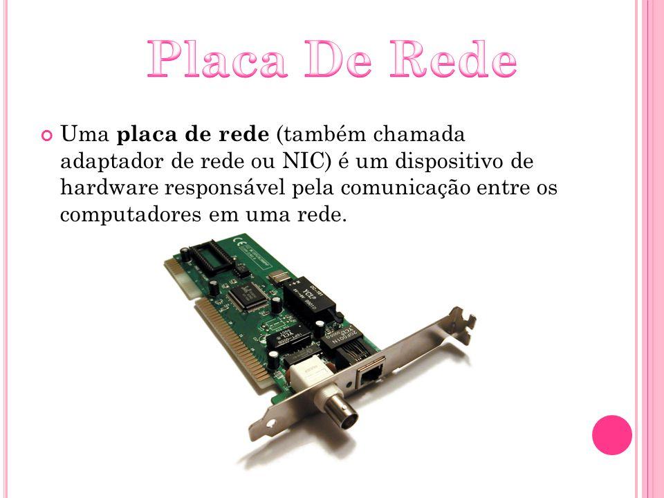 Uma placa de rede (também chamada adaptador de rede ou NIC) é um dispositivo de hardware responsável pela comunicação entre os computadores em uma red
