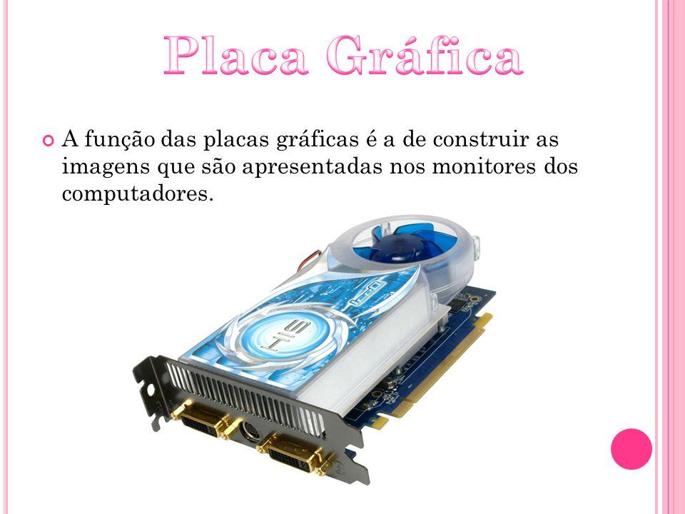 A função das placas gráficas é a de construir as imagens que são apresentadas nos monitores dos computadores.