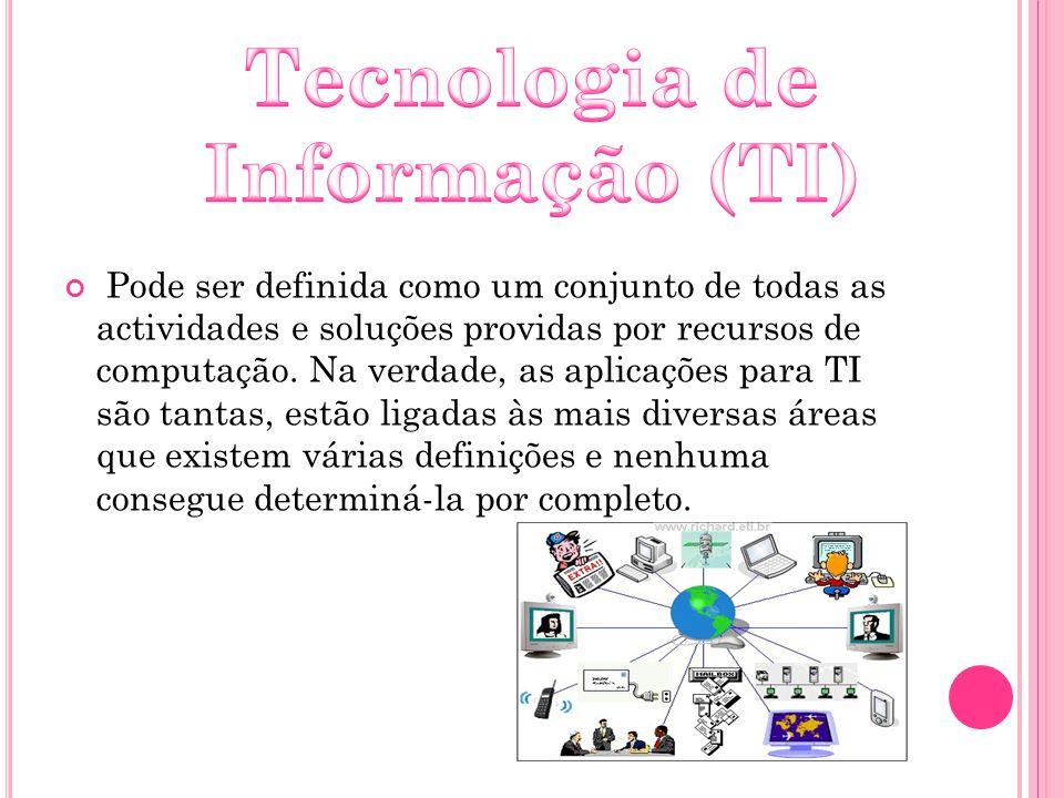 Pode ser definida como um conjunto de todas as actividades e soluções providas por recursos de computação. Na verdade, as aplicações para TI são tanta