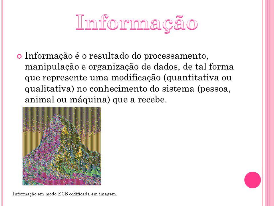 Informação é o resultado do processamento, manipulação e organização de dados, de tal forma que represente uma modificação (quantitativa ou qualitativ