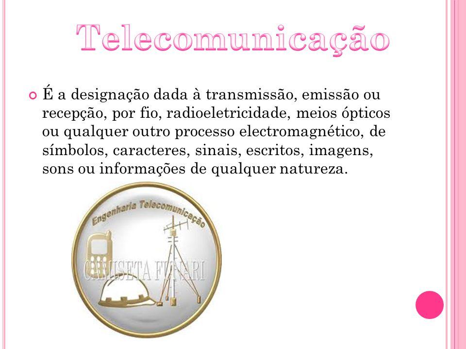 É a designação dada à transmissão, emissão ou recepção, por fio, radioeletricidade, meios ópticos ou qualquer outro processo electromagnético, de símb