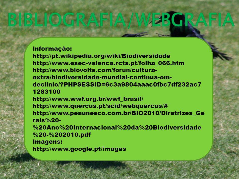 Informação: http://pt.wikipedia.org/wiki/Biodiversidade http://www.esec-valenca.rcts.pt/folha_066.htm http://www.biovolts.com/forun/cultura- extra/biodiversidade-mundial-continua-em- declinio/ PHPSESSID=6c3a9804aaac0fbc7df232ac7 1283100 http://www.wwf.org.br/wwf_brasil/ http://www.quercus.pt/scid/webquercus/# http://www.peaunesco.com.br/BIO2010/Diretrizes_Ge rais%20- %20Ano%20Internacional%20da%20Biodiversidade %20-%202010.pdf Imagens: http://www.google.pt/images