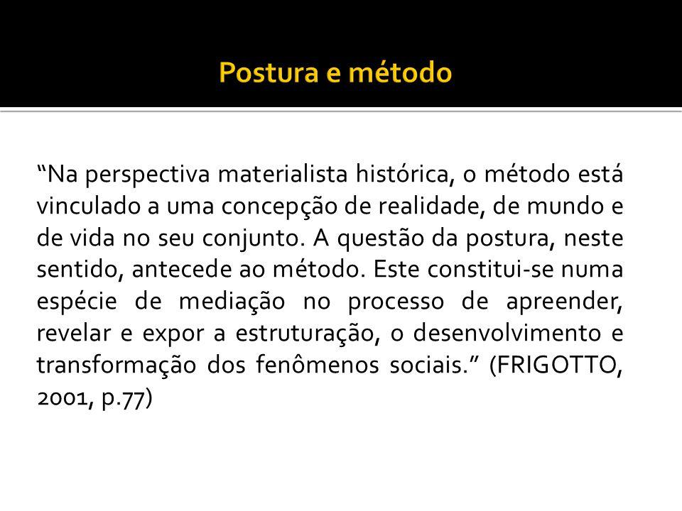 """""""Na perspectiva materialista histórica, o método está vinculado a uma concepção de realidade, de mundo e de vida no seu conjunto. A questão da postura"""