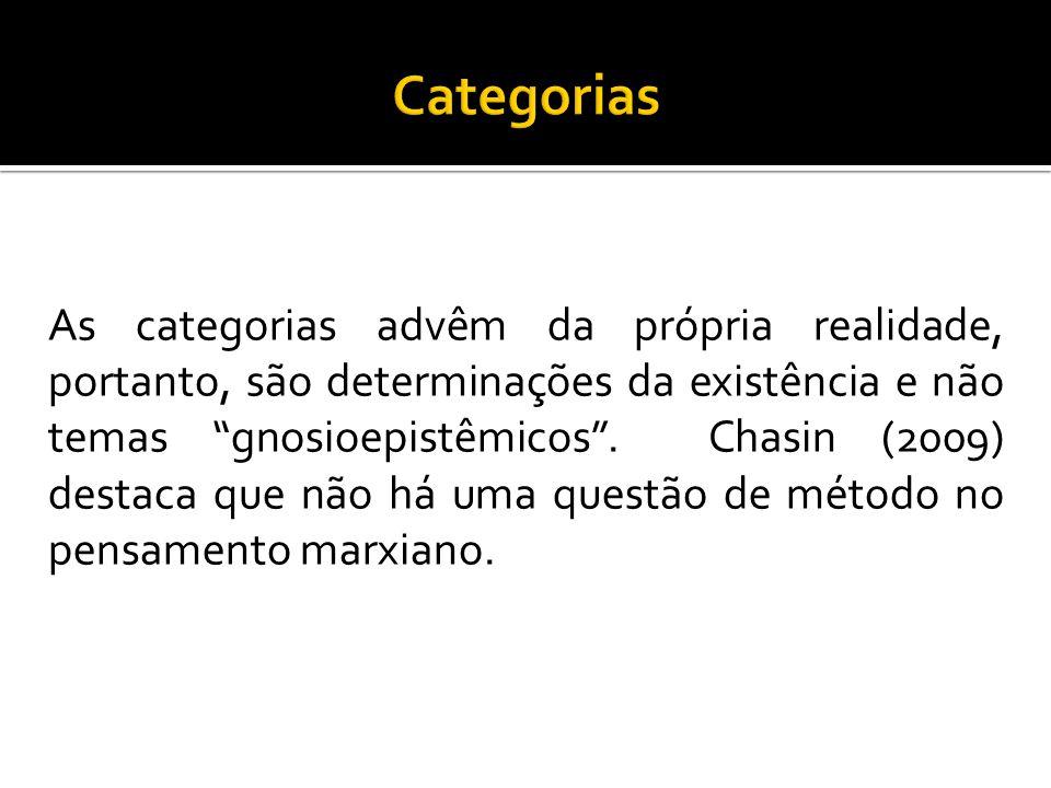 """As categorias advêm da própria realidade, portanto, são determinações da existência e não temas """"gnosioepistêmicos"""". Chasin (2009) destaca que não há"""