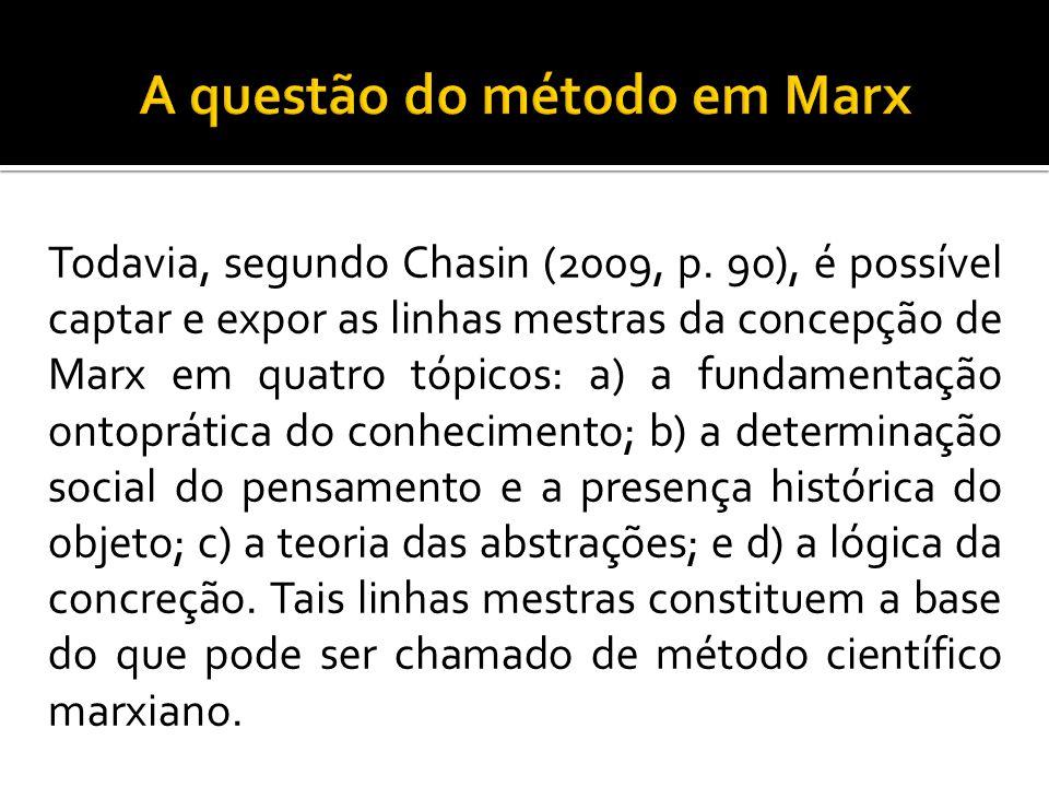 Todavia, segundo Chasin (2009, p. 90), é possível captar e expor as linhas mestras da concepção de Marx em quatro tópicos: a) a fundamentação ontoprát