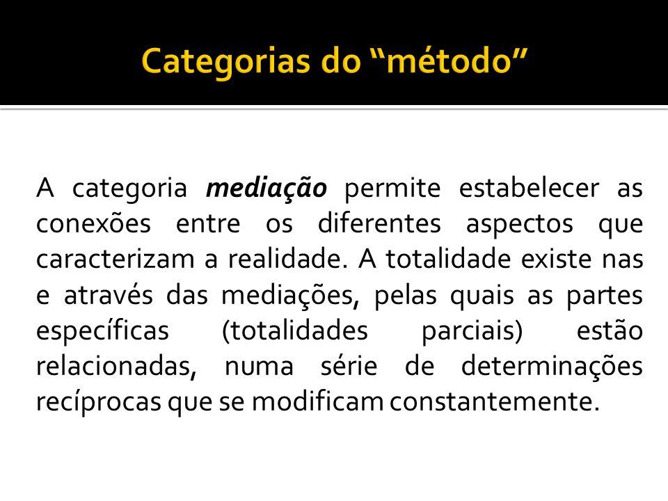 A categoria mediação permite estabelecer as conexões entre os diferentes aspectos que caracterizam a realidade. A totalidade existe nas e através das