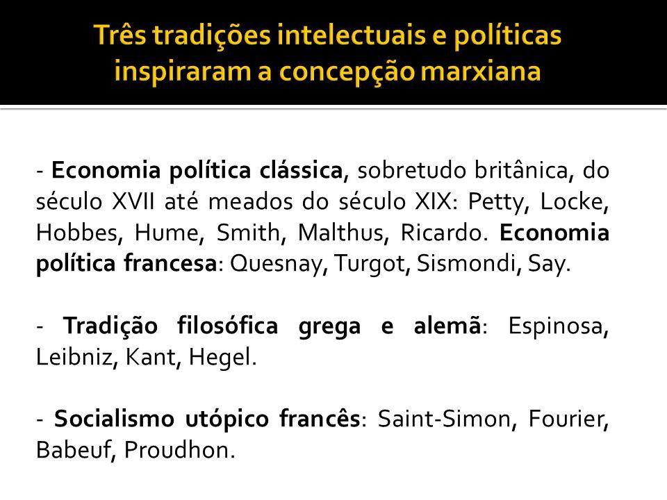 - Economia política clássica, sobretudo britânica, do século XVII até meados do século XIX: Petty, Locke, Hobbes, Hume, Smith, Malthus, Ricardo. Econo