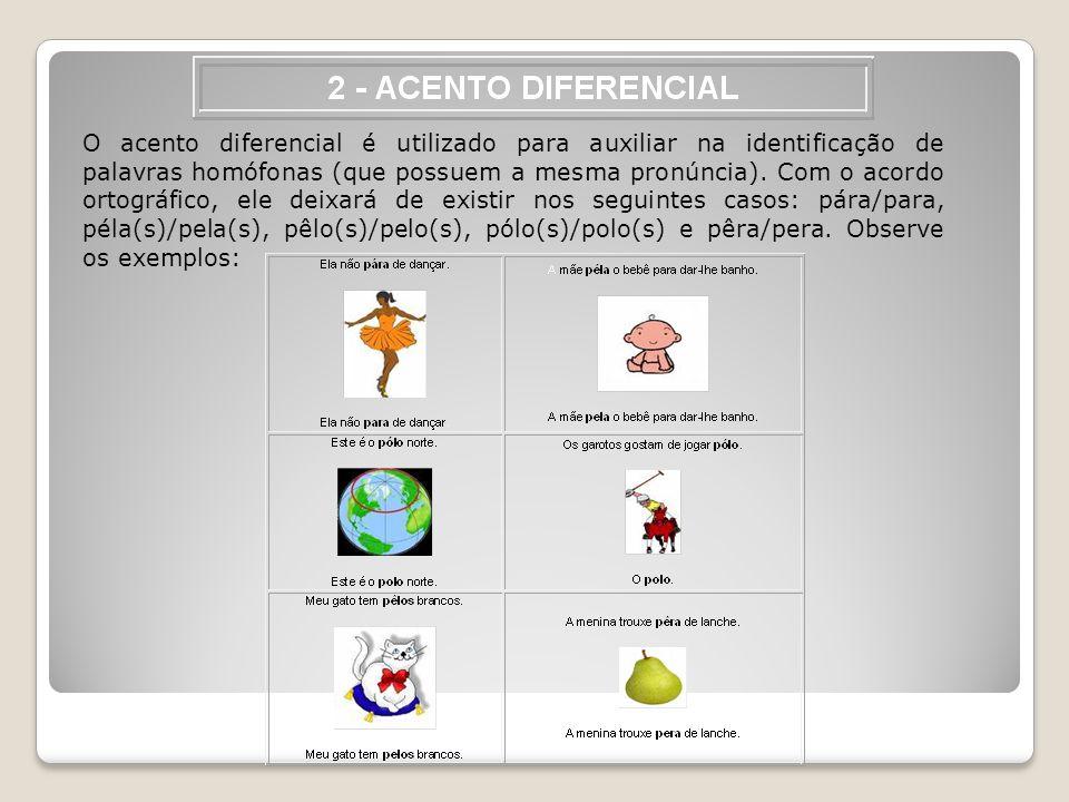 O acento diferencial é utilizado para auxiliar na identificação de palavras homófonas (que possuem a mesma pronúncia). Com o acordo ortográfico, ele d