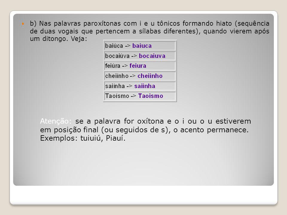 b) Nas palavras paroxítonas com i e u tônicos formando hiato (sequência de duas vogais que pertencem a sílabas diferentes), quando vierem após um dito
