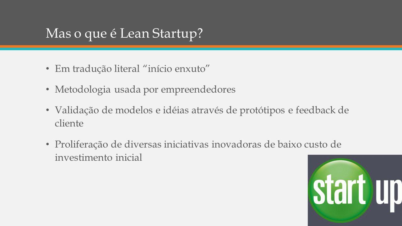 """Mas o que é Lean Startup? Em tradução literal """"início enxuto"""" Metodologia usada por empreendedores Validação de modelos e idéias através de protótipos"""