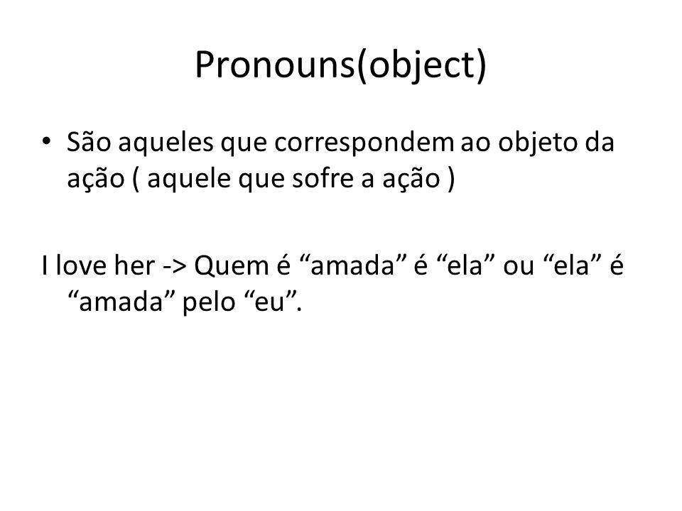 Pronouns(object) São aqueles que correspondem ao objeto da ação ( aquele que sofre a ação ) I love her -> Quem é amada é ela ou ela é amada pelo eu .