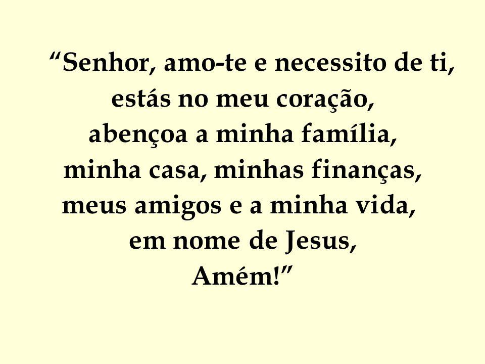 """""""Senhor, amo-te e necessito de ti, estás no meu coração, abençoa a minha família, minha casa, minhas finanças, meus amigos e a minha vida, em nome de"""