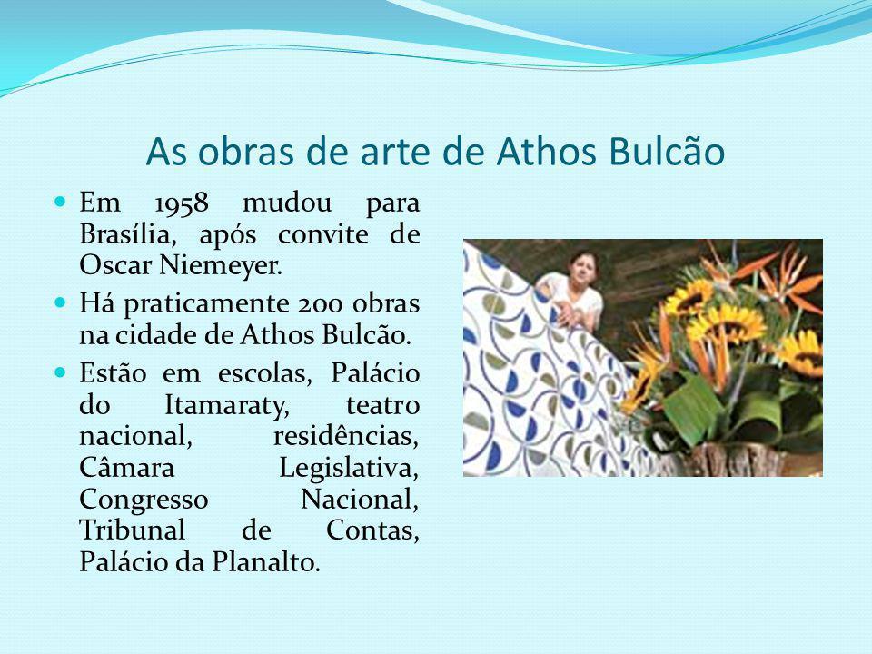 Pesquisa bibliográfica sobre o artista Athos Bulcão Nascido na cidade do Rio de Janeiro, no ano de 1918. Aos 18 anos ingressou no curso superior em Me