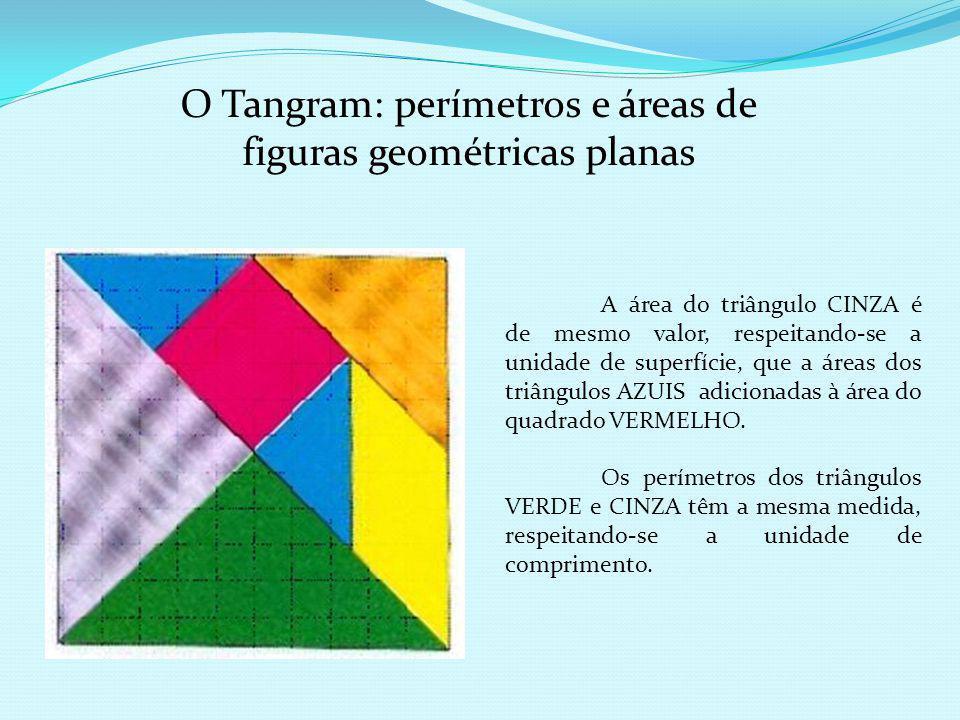 O quadrado VERMELHO e os dois triângulos AZUIS quando organizados formam o triângulo CINZA, a esse processo denominamos de composição de figuras geomé