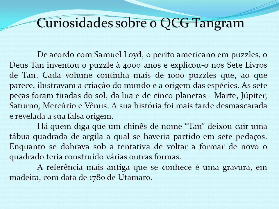 O Tangram: perímetros e áreas de figuras geométricas planas A área do triângulo CINZA é de mesmo valor, respeitando-se a unidade de superfície, que a