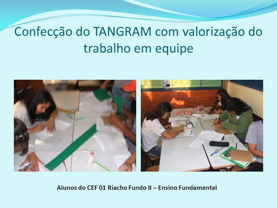 Confecção do TANGRAM com lápis, régua, borracha e papel cartão Alunos do CEF 01 Riacho Fundo II – Ensino Fundamental