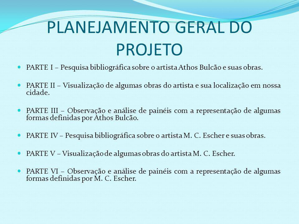 PLANEJAMENTO GERAL DO PROJETO PARTE I – Pesquisa bibliográfica sobre o artista Athos Bulcão e suas obras.
