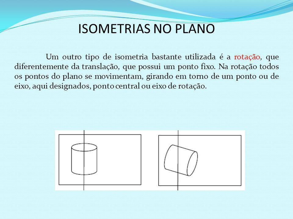 O estudo das transformações do plano através de movimentos de tal forma que não ocorra distorção de formas e tamanhos dá-se o nome de isometria. Perte