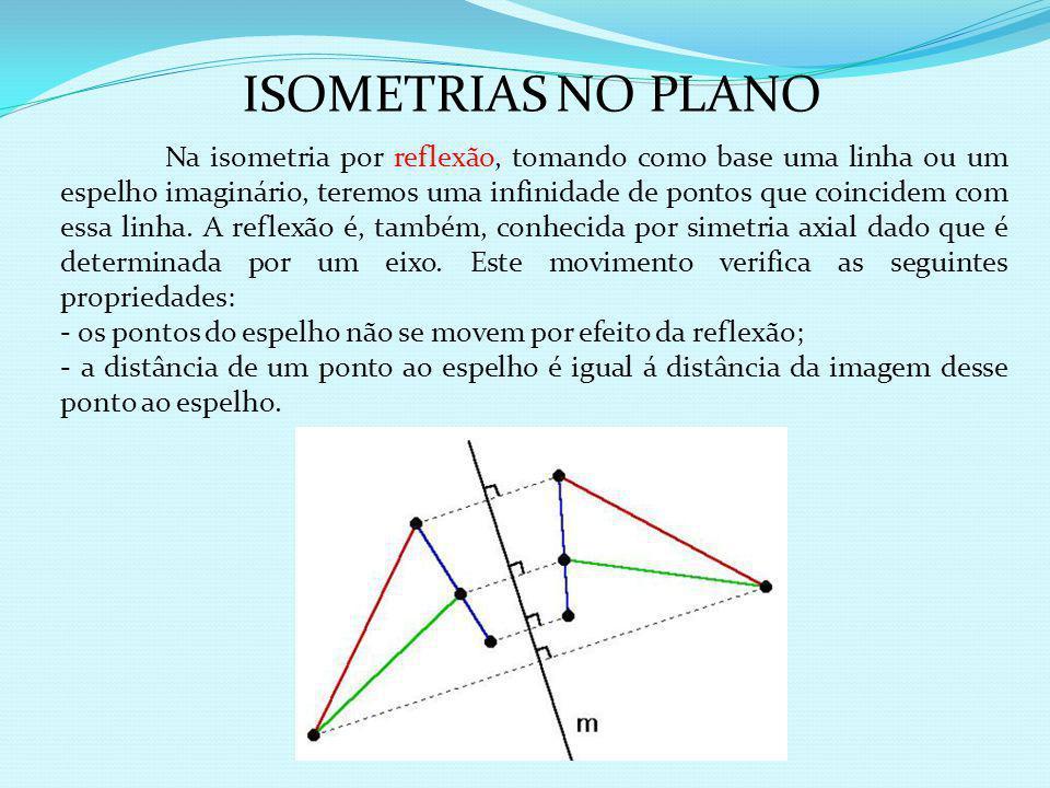 Um outro tipo de isometria bastante utilizada é a rotação, que diferentemente da translação, que possui um ponto fixo. Na rotação todos os pontos do p