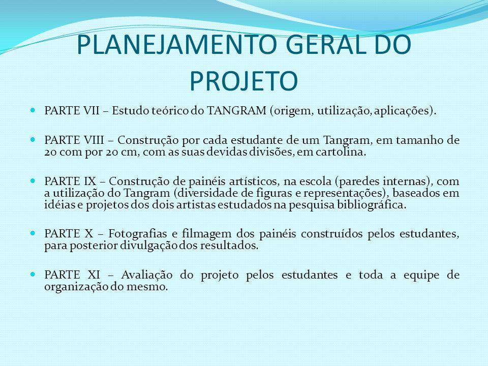 PLANEJAMENTO GERAL DO PROJETO PARTE VII – Estudo teórico do TANGRAM (origem, utilização, aplicações).