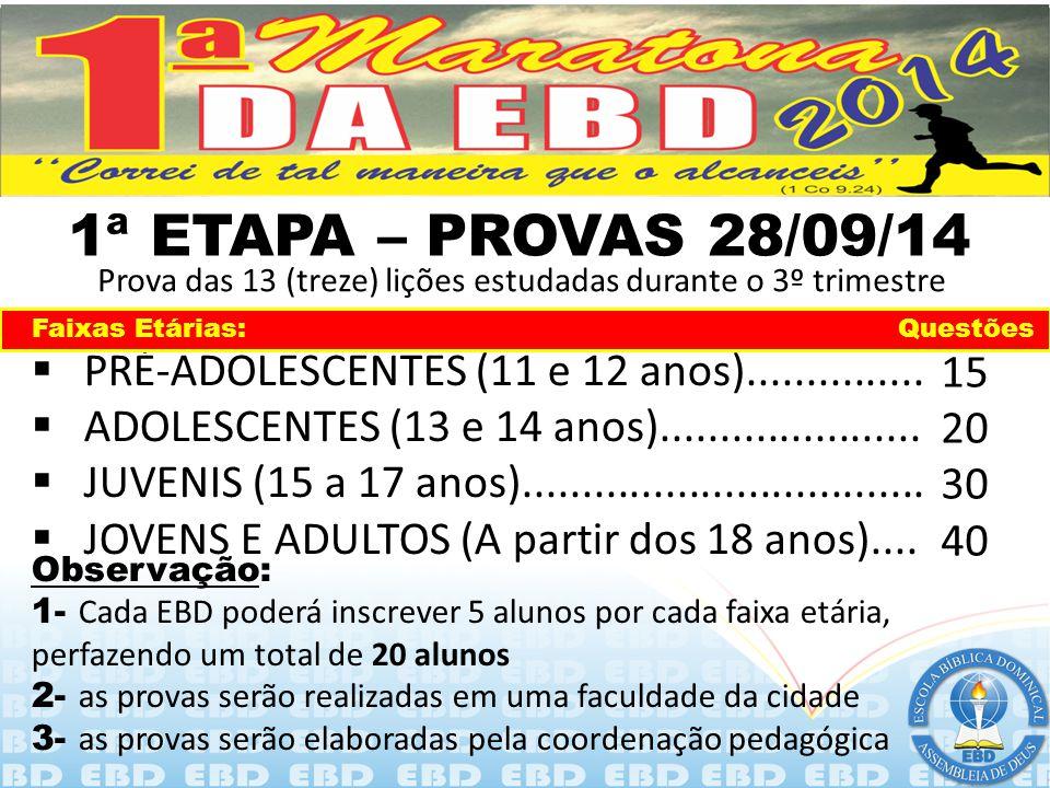 2 (DUAS) ETAPAS DISTINTAS  PRIMEIRA ETAPA - A PROVA – 28/09/2014  SEGUNDA ETAPA – AS ATIVIDADES/TAREFAS Prova das 13 (treze) lições estudadas durant