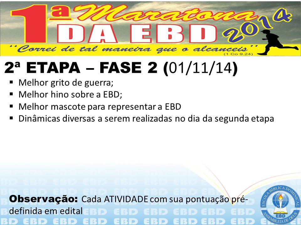 2ª ETAPA – FASE 1 ( 20 a 25/10/14 )  Maior oferta (valores em reais);  Arrecadação de alimentos não perecíveis (Cestas básicas);  Arrecadação de bí