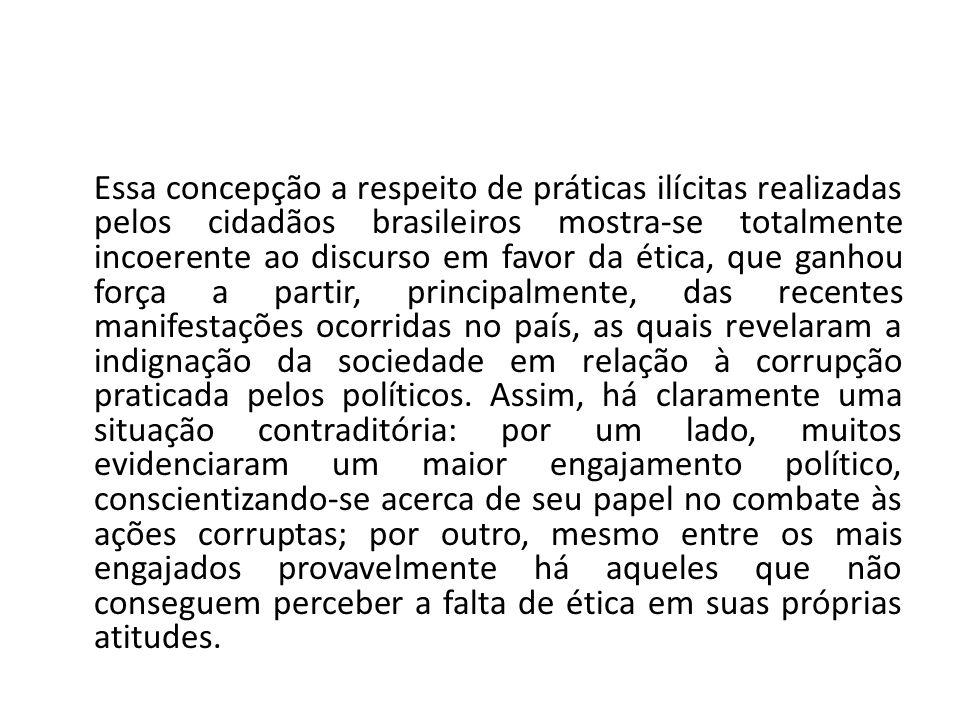 Essa concepção a respeito de práticas ilícitas realizadas pelos cidadãos brasileiros mostra-se totalmente incoerente ao discurso em favor da ética, que ganhou força a partir, principalmente, das recentes manifestações ocorridas no país, as quais revelaram a indignação da sociedade em relação à corrupção praticada pelos políticos.