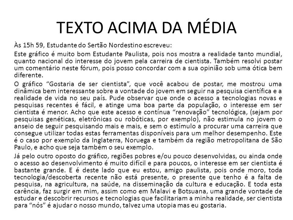 TEXTO ACIMA DA MÉDIA Às 15h 59, Estudante do Sertão Nordestino escreveu: Este gráfico é muito bom Estudante Paulista, pois nos mostra a realidade tant