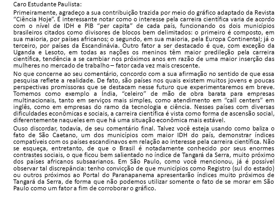 """Caro Estudante Paulista: Primeiramente, agradeço a sua contribuição trazida por meio do gráfico adaptado da Revista """"Ciência Hoje"""". É interessante not"""