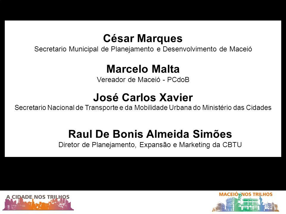 César Marques Secretario Municipal de Planejamento e Desenvolvimento de Maceió Marcelo Malta Vereador de Maceió - PCdoB José Carlos Xavier Secretario