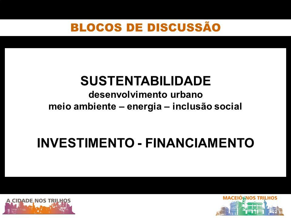 SUSTENTABILIDADE desenvolvimento urbano meio ambiente – energia – inclusão social INVESTIMENTO - FINANCIAMENTO BLOCOS DE DISCUSSÃO