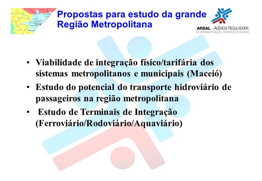 Propostas para estudo da grande Região Metropolitana Viabilidade de integração físico/tarifária dos sistemas metropolitanos e municipais (Maceió) Estudo do potencial do transporte hidroviário de passageiros na região metropolitana Estudo de Terminais de Integração (Ferroviário/Rodoviário/Aquaviário)