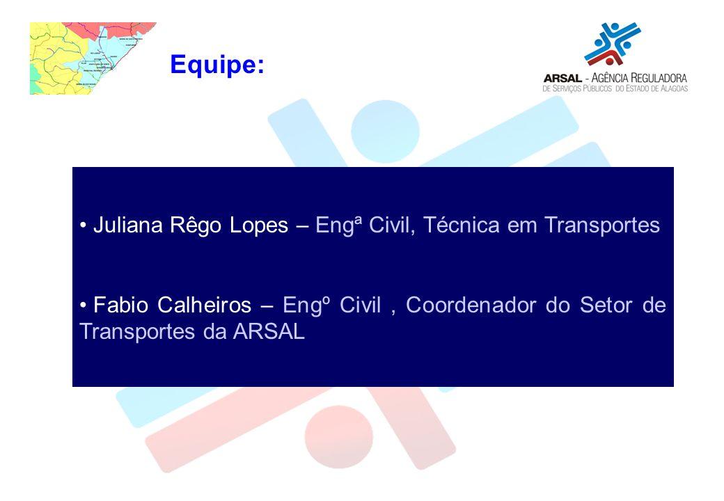Equipe: Juliana Rêgo Lopes – Engª Civil, Técnica em Transportes Fabio Calheiros – Engº Civil, Coordenador do Setor de Transportes da ARSAL