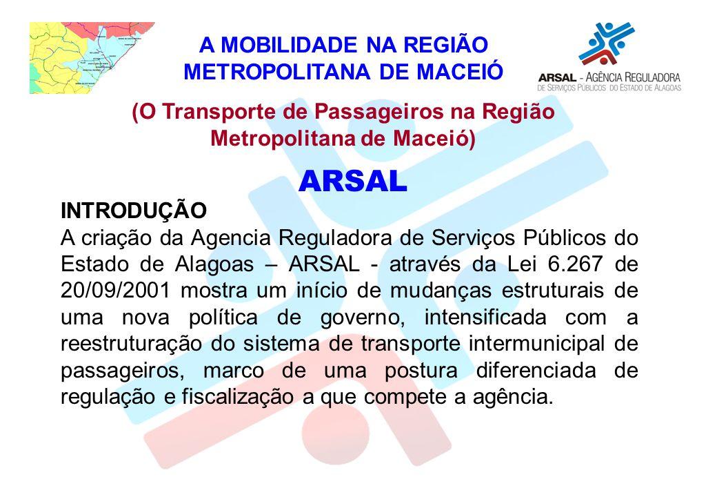 INTRODUÇÃO A criação da Agencia Reguladora de Serviços Públicos do Estado de Alagoas – ARSAL - através da Lei 6.267 de 20/09/2001 mostra um início de