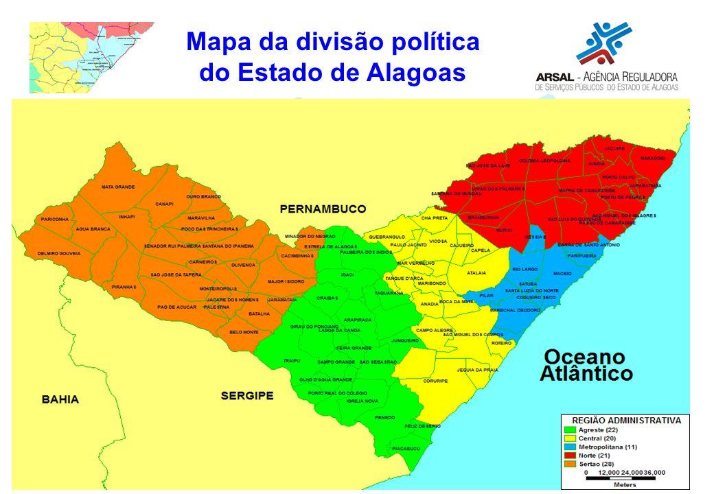 Mapa da divisão política do Estado de Alagoas
