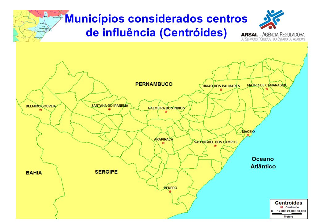Municípios considerados centros de influência (Centróides)
