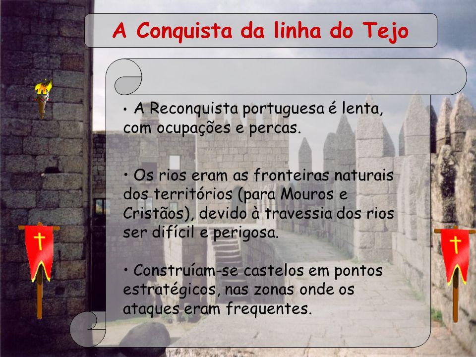 A Reconquista portuguesa é lenta, com ocupações e percas. Os rios eram as fronteiras naturais dos territórios (para Mouros e Cristãos), devido à trave