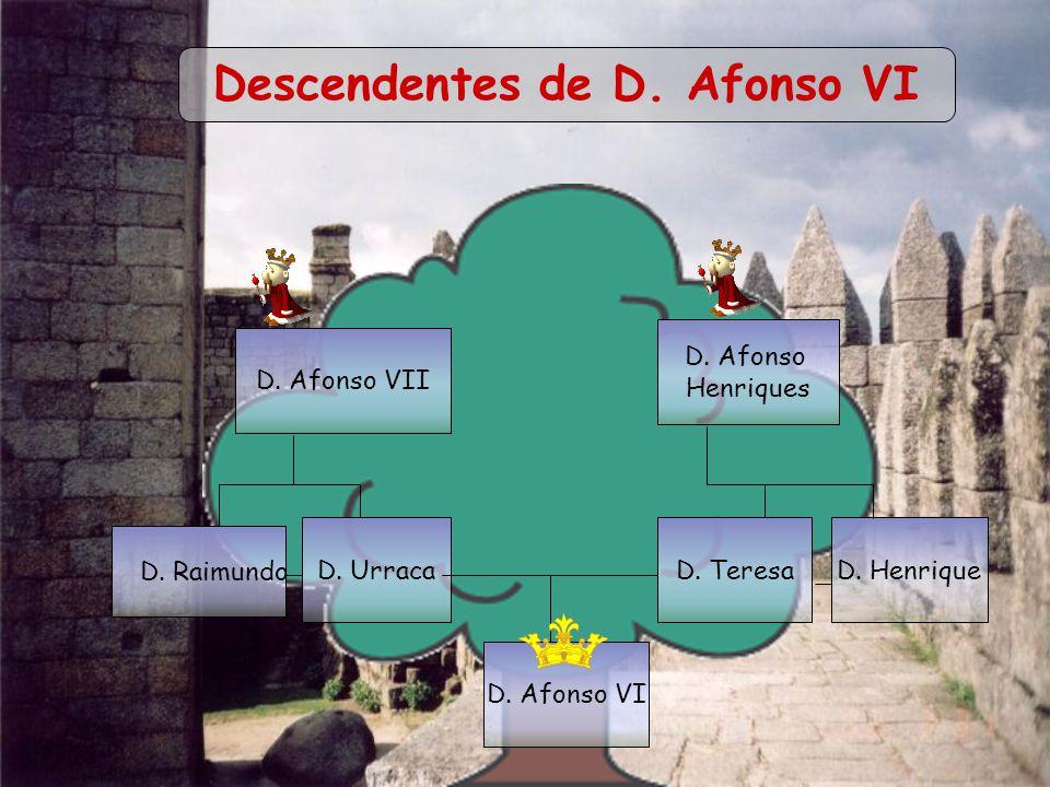 D. Afonso VII D. Afonso Henriques D. HenriqueD. UrracaD. Teresa D. Afonso VI D. Raimundo Descendentes de D. Afonso VI