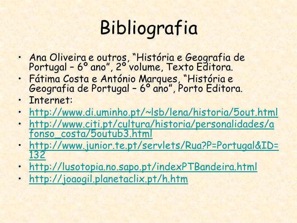 """Bibliografia Ana Oliveira e outros, """"História e Geografia de Portugal – 6º ano"""", 2º volume, Texto Editora. Fátima Costa e António Marques, """"História e"""
