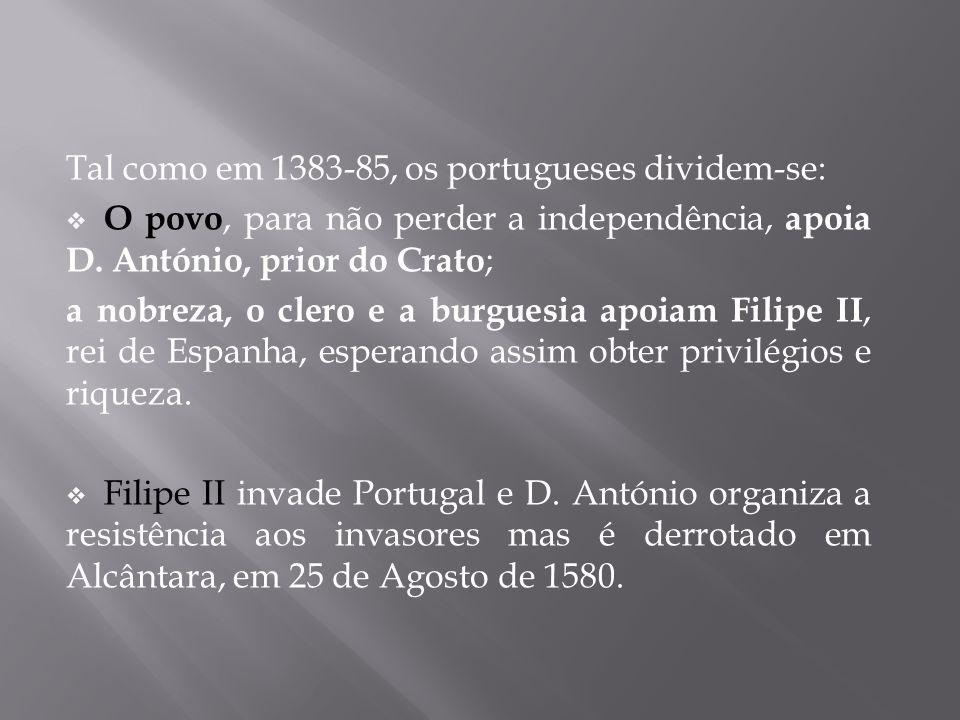 Tal como em 1383-85, os portugueses dividem-se:  O povo, para não perder a independência, apoia D. António, prior do Crato ; a nobreza, o clero e a b