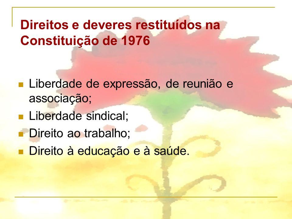 Liberdade de expressão, de reunião e associação; Liberdade sindical; Direito ao trabalho; Direito à educação e à saúde. Direitos e deveres restituídos