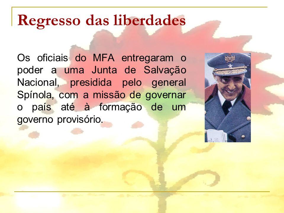 Regresso das liberdades Os oficiais do MFA entregaram o poder a uma Junta de Salvação Nacional, presidida pelo general Spínola, com a missão de govern