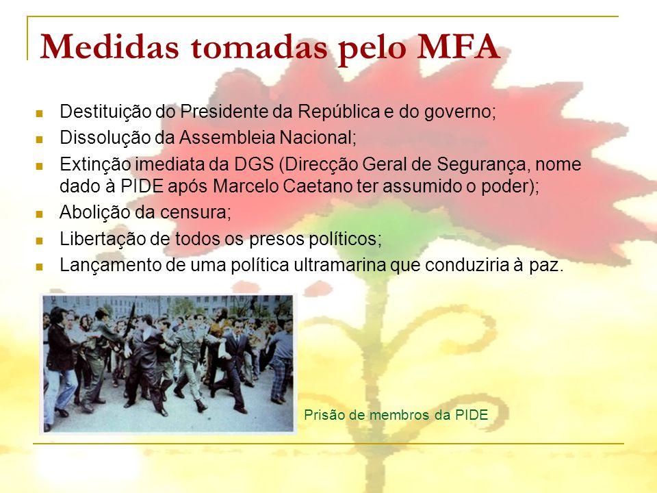 Medidas tomadas pelo MFA Destituição do Presidente da República e do governo; Dissolução da Assembleia Nacional; Extinção imediata da DGS (Direcção Ge