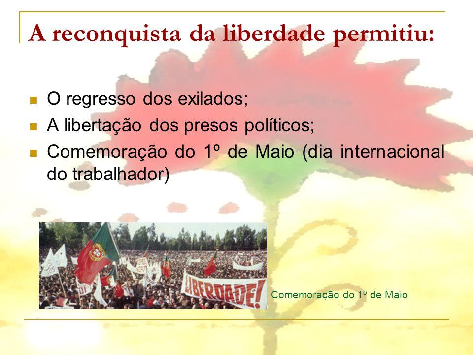 A reconquista da liberdade permitiu: O regresso dos exilados; A libertação dos presos políticos; Comemoração do 1º de Maio (dia internacional do traba