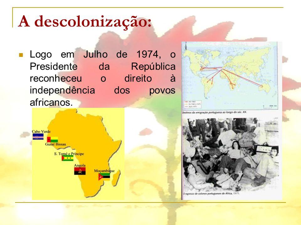 A descolonização: Logo em Julho de 1974, o Presidente da República reconheceu o direito à independência dos povos africanos.