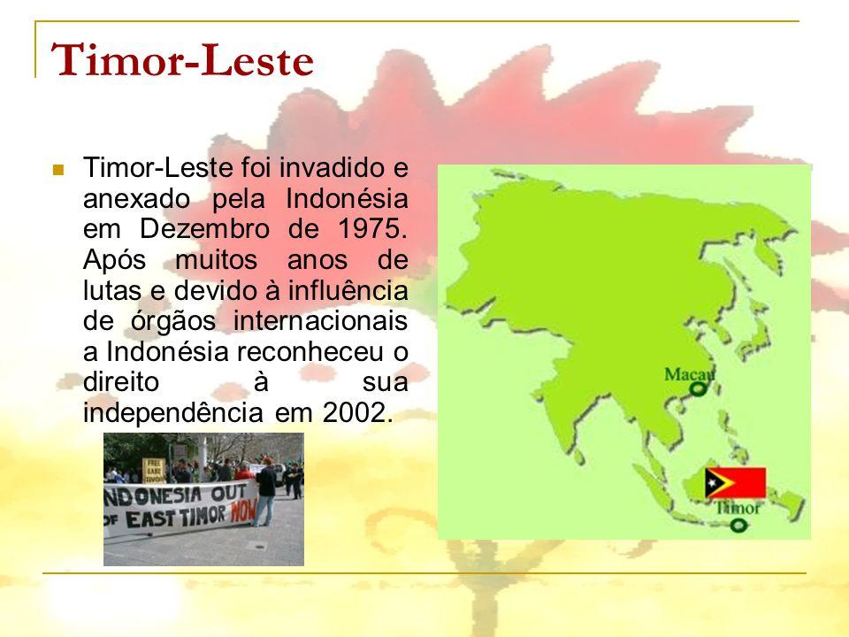 Timor-Leste Timor-Leste foi invadido e anexado pela Indonésia em Dezembro de 1975. Após muitos anos de lutas e devido à influência de órgãos internaci