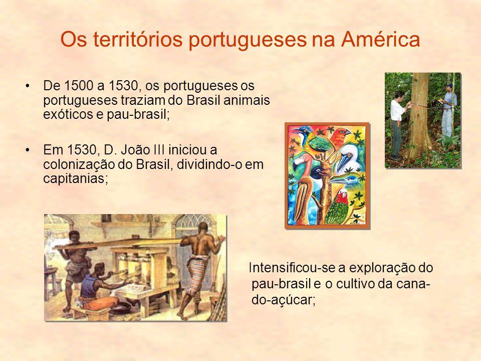 Os territórios portugueses na América De 1500 a 1530, os portugueses os portugueses traziam do Brasil animais exóticos e pau-brasil; Em 1530, D.