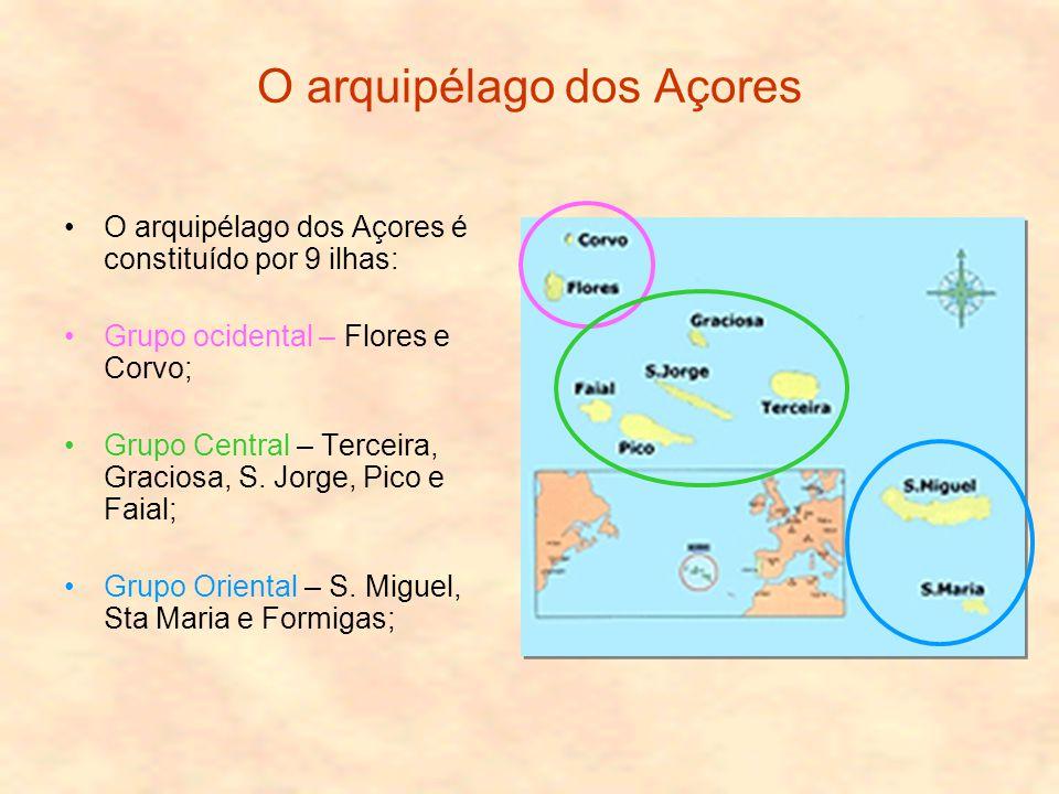 O arquipélago dos Açores O arquipélago dos Açores é constituído por 9 ilhas: Grupo ocidental – Flores e Corvo; Grupo Central – Terceira, Graciosa, S.