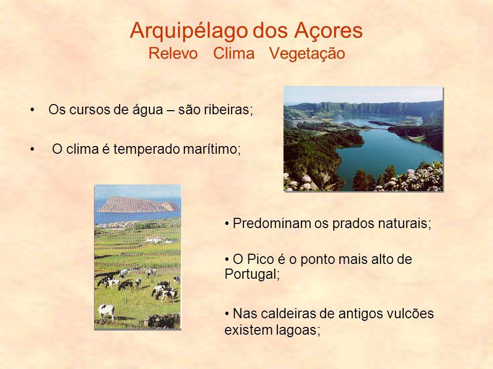 Arquipélago dos Açores Relevo Clima Vegetação Os cursos de água – são ribeiras; O clima é temperado marítimo; Predominam os prados naturais; O Pico é o ponto mais alto de Portugal; Nas caldeiras de antigos vulcões existem lagoas;